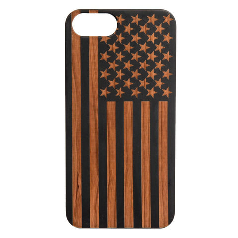 American Flag Cherry Wood -iPhone/Samsung