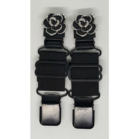 Black Rose with Crystals Boot Strap