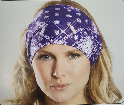 Paisley Purple Headband with Gems