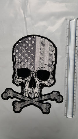 Black and White Skull w/ American Flag