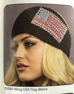 Wool Headband Bling USA Flag Black