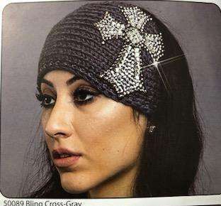 WOOL BLING CROSS KNIT HEADBAND GRAY