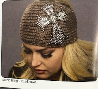 BLING CROSS KNIT HEADBAND BROWN