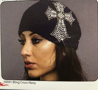 BLING CROSS KNIT HEADBAND NAVY