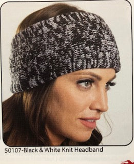 BLACK AND WHITE WOVEN KNIT HEADBAND