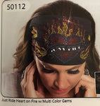 JUST RIDE HEART ON FIRE HEADBAND