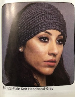 SOLID COLOR KNIT HEADBAND GRAY
