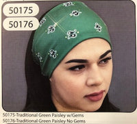 GREEN PAISLEY NO GEMS HEADBAND