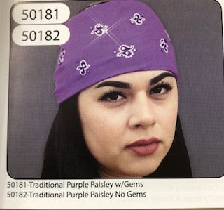 PURPLE PAISLEY w/GEMS HEADBAND