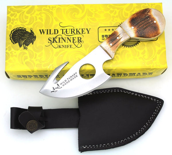 Wild Turkey Handmade Burned Bone Handle Gut Hook Hunting Knife 7""