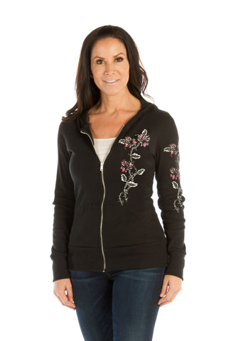 Barbed Wire and Roses Ladies Hoodie