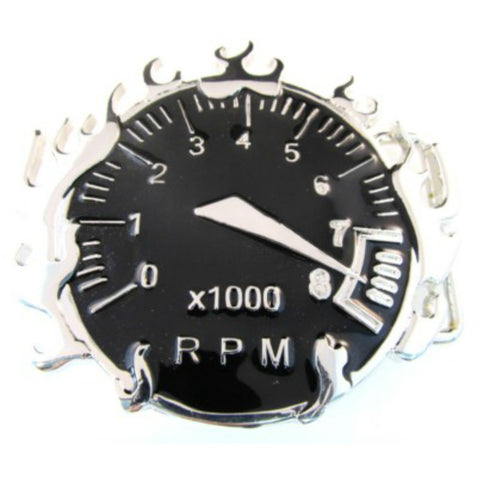 RPM meter cut out black belt buckle.