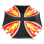 Chopper black with red and yellow fire belt buckle.