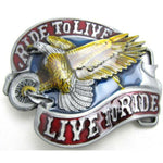 Eagle on wheels ride to live live to ride belt buckle