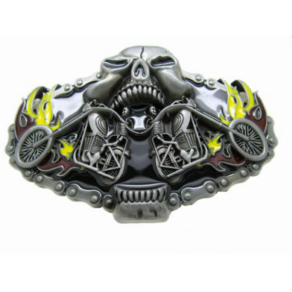2 Skeleton riding a bike belt buckle