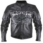 Reflective Evil Triple Flaming Skulls Cruiser Armored Motorcycle Jacket
