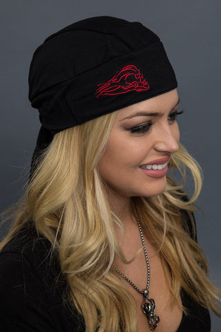 SKULL FULL-HEAD WRAP RED