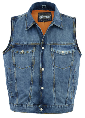 Snap/Zipper Front Denim Vest- Blue