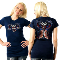 Ladies Angel Wings T-Shirt Navy