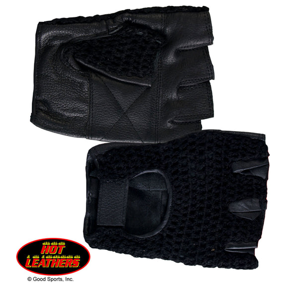 Fingerless Black Leather Glove w/Mesh