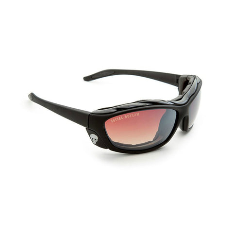 Sunglasses-Classic Biker w/Wind Blocking Foam Cavity-Black