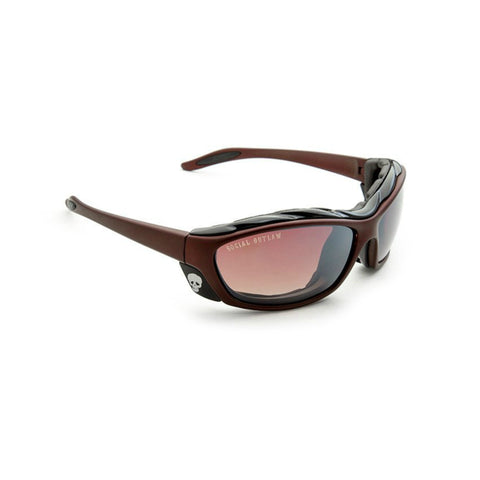 Sunglasses-Classic Biker w/Wind Blocking Foam Cavity-Brown