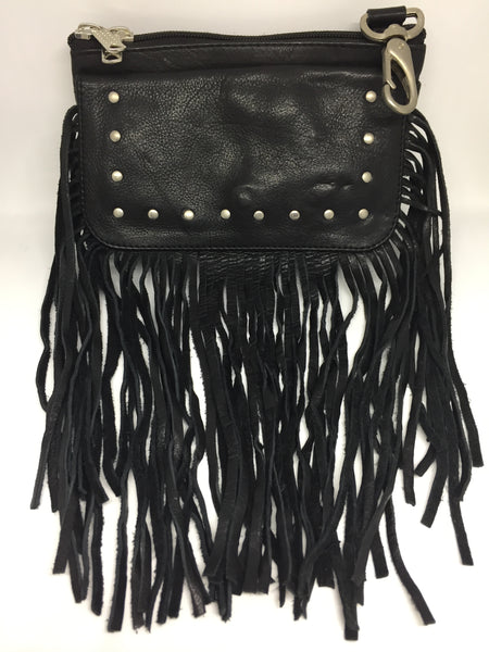 Ladies Fringe Clip Purse With Studs