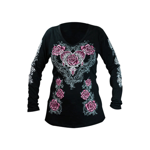 Pink Rose and Heart Ladies Long Sleeve T-Shirt
