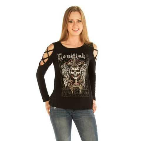 Devilish Raven Ladies Long Sleeve