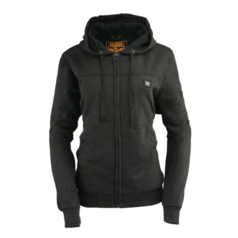 Womens Front Zip Black Heated Hoodie