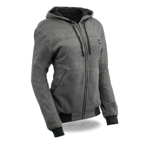Womens Front Zip Gray Heated Hoodie