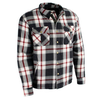 Men's Red/Blk/Wht Flannel Biker Jacket with Aramid Reinforcement