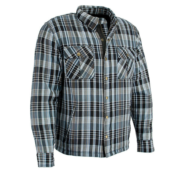 Men's Blue/Wht/Blk Flannel Biker Jacket with Aramid Reinforcement