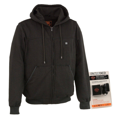Mens Black Front Zip Heated Hoodie