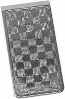 High Quality Men's Stainless Steel Money Clips - Checker Board