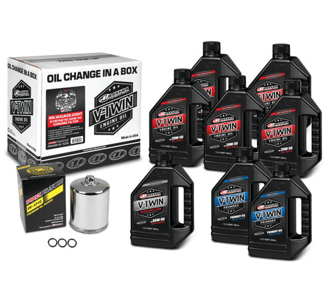 Maxima Twin Cam Synthetic 20W50 Oil Change Kit Chrome