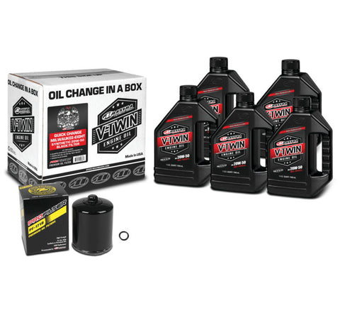 Maxima Milwaukee-Eight Synthetic 20W-50 Quick-Change Kit Black Filter