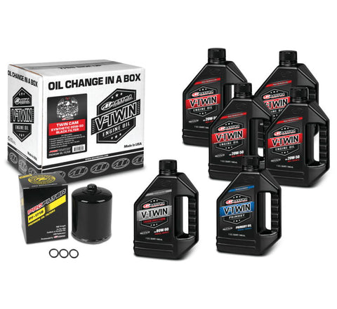 Maxima Twin Cam Synthetic 20W50 Oil Change Kit BLK