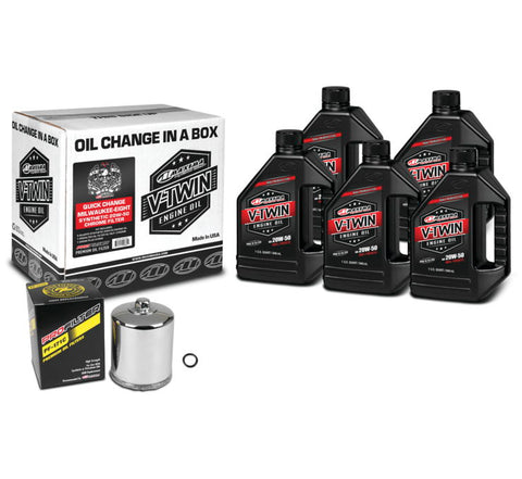 Maxima Milwaukee-Eight Synthetic 20W-50 Quick-Change Kit Chrome Filter