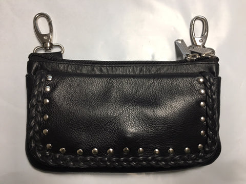 Studded Leather Braid Clip on Purse