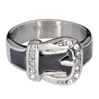 Ladies Buckle Ring Black