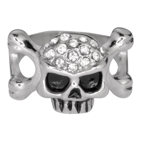Ladies Skull Bones Imitation Diamond Ring