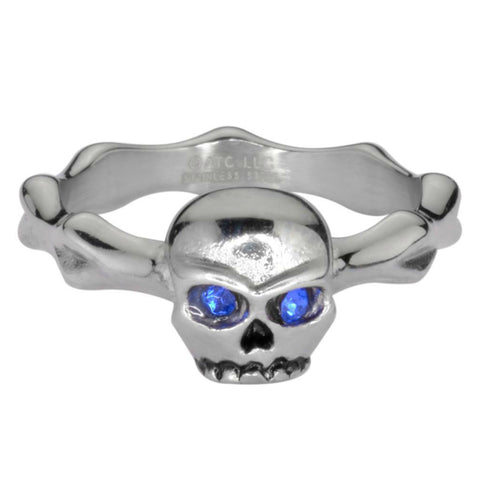Ladies Blue Eyed Skull Bones Ring