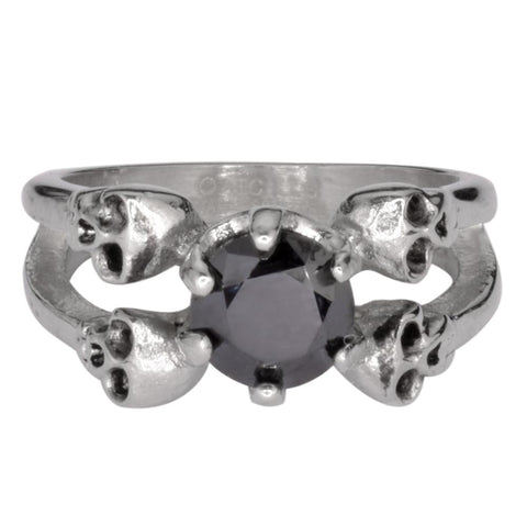 Ladies Black Stone Four Solitaire Skull Ring