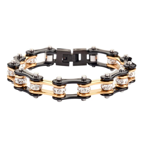 Two Tone Gold Black Bike Chain Bracelet