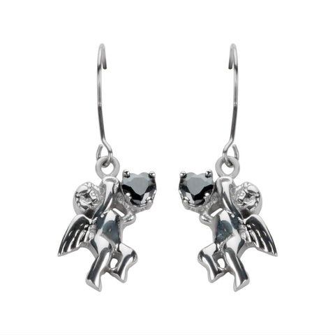 Cherub Angel Earrings Black Heart Shape Stones