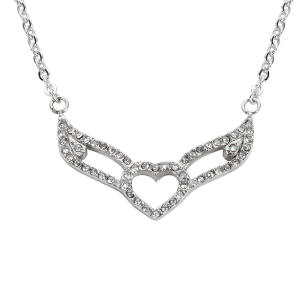 Ladies Crystal Double Angel Wing Outline Necklace