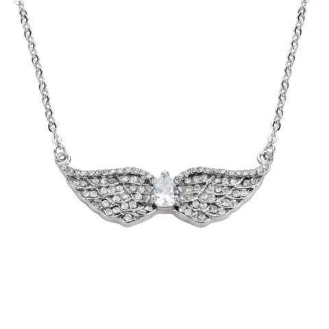 Ladies Double Angel Wing Crystal Pear Shaped Center Stone Necklace