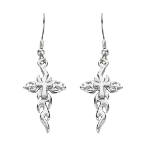 Flaming Cross French Wire Earrings