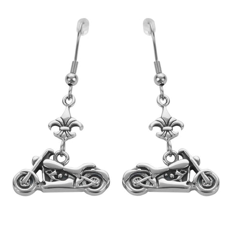 Motorcycle Fleur De Lis French Wire Earrings